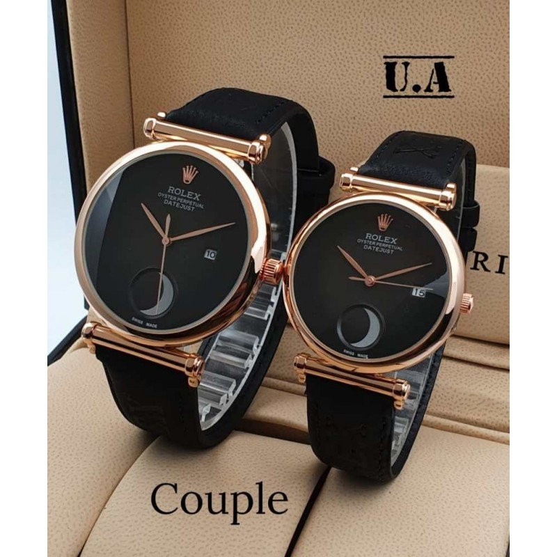 Rolex couple watch black suede leather