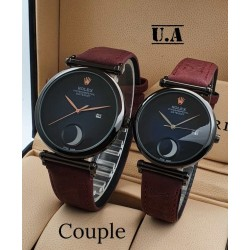 Rolex couple watch black dial maroon leather belt