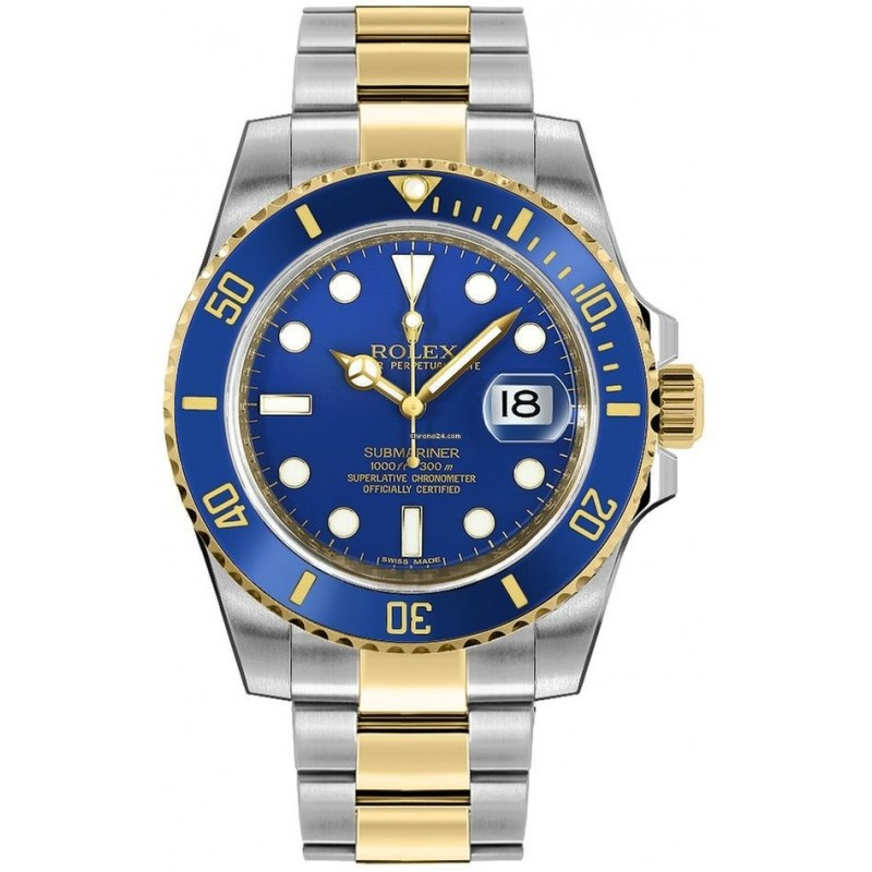 ROLEX WATCH FOR MEN SUBMARINER BLUE DUAL TONE