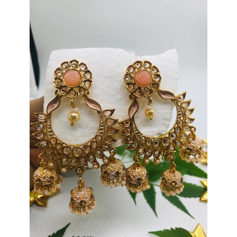 Shastta trendz Peach Color Jhumka Polki Earrings