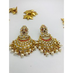 Kundan Earrings With Cluster Pearl