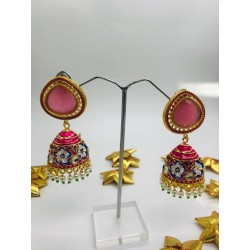 Pink Gold Tone Meenakari Jhumki Earrings with Pearls