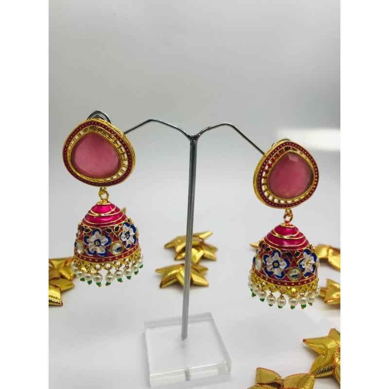 Pink Gold Tone Meenakari Jhumki Earrings with Pearls