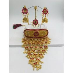 Shastta Trendz Kundan Pink Jhallar Style Necklace Set