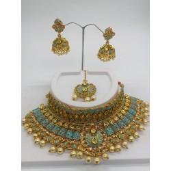 Shastta trendz Blue Meena Kundan Pearl Choker Necklace Set