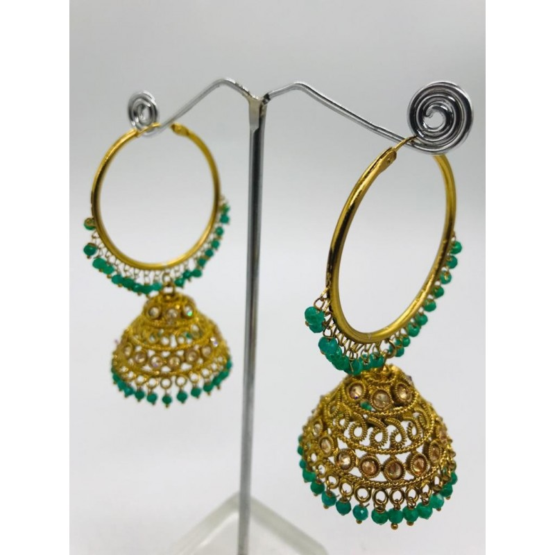Shastta trendz high qualitty polki bali jhumki in emerald