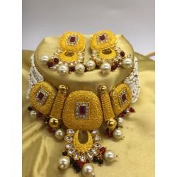 Shastta trendz Ruby Meena Yellow  Necklace Set