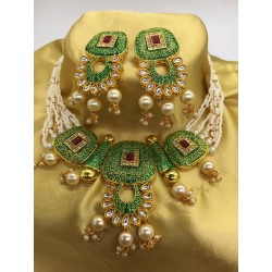 Shastta trendz Ruby Meena Green Necklace for girls and women
