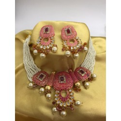 Shastta trendz Ruby Meena Pink Necklace for girls and women