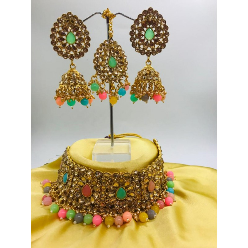 Shastta trendz Multi Color Kundan Choker Necklace for Woman & Girls