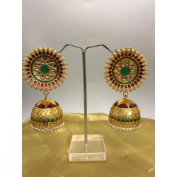 Shastta trendz kundan Meena Jhumki Red and green Colour