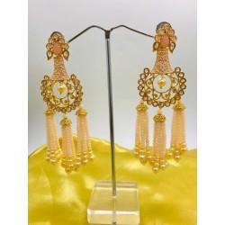 Shastta trendz Peach Polki hanging pearls Earring