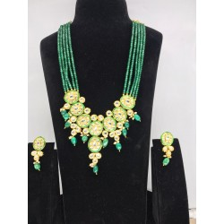Shastta trendz Green Gold Tone Kundan Inspired Necklace with Earrings