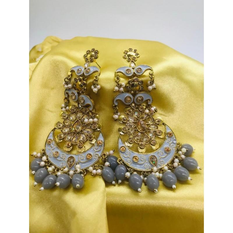 Shastta trendz Grey Color Kundan Polki Meena Earrings