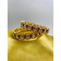 American Diamond Polki Stone Bangles Ruby and White