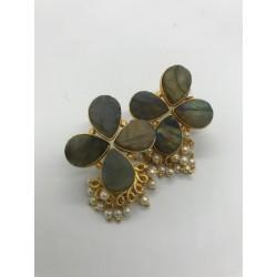 Shastta trendz floral motif cluster pearl earrings