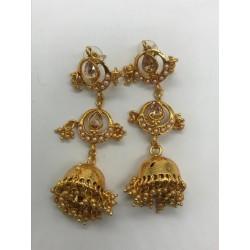 Shastta trendz Gold jhumka with kundan and beads tops