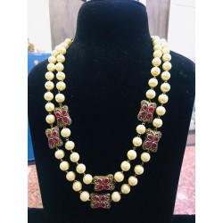 Shastta trendz metal Beads Double Line off White Pearl Necklace