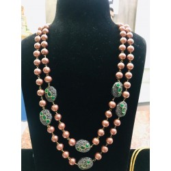 Shastta trendz metal Beads Double Line Rose Gold Pearl Necklace
