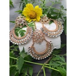 Shastta trendz Rose Gold Kundan Earrings with Maang Tikka