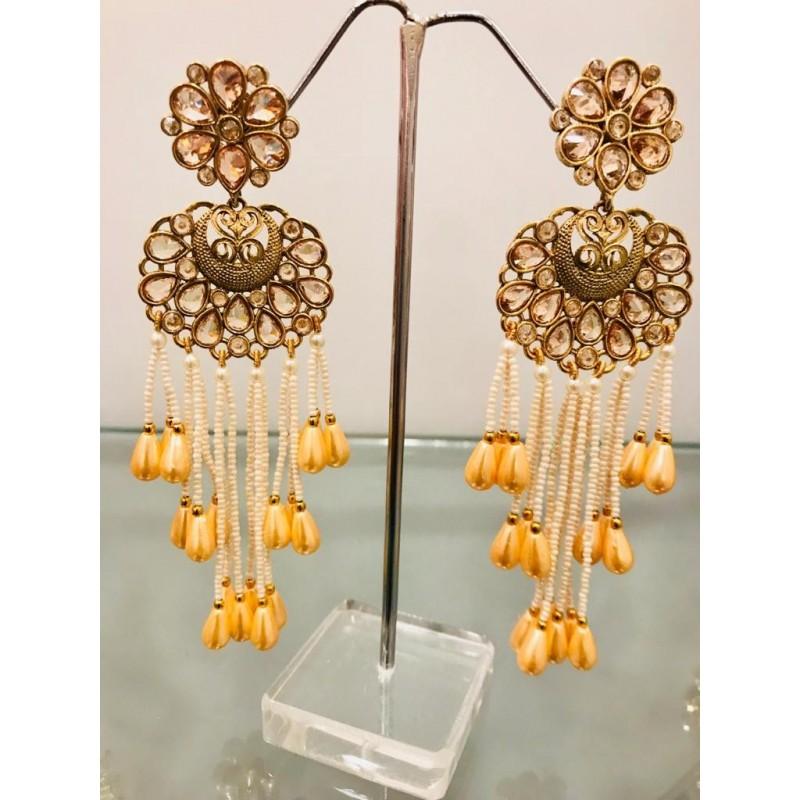 Shastta trendz polki kundan long earrings