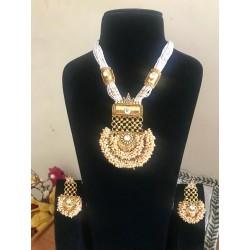 Shastta trendz kundan pendant cluster pearl necklace set