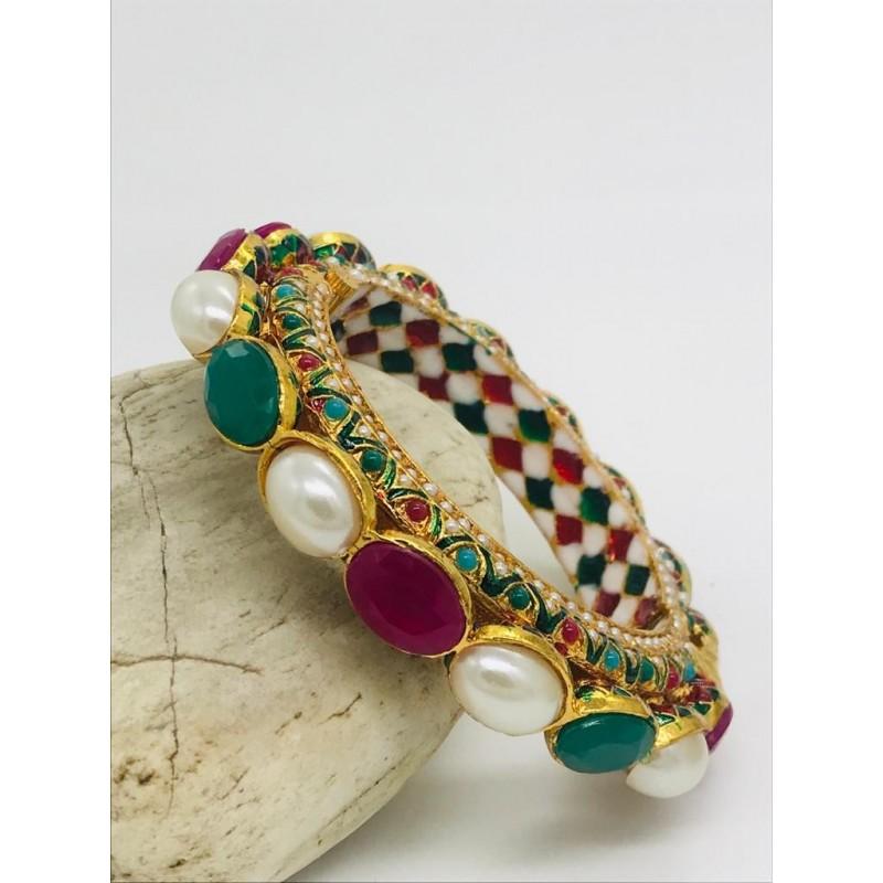 Shastta trendz ruby emerald and pearl openable kada