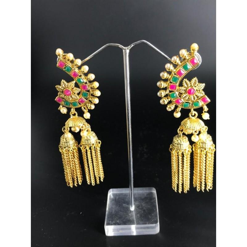 Shastta trendz ruby emerald earrings with jhumki chains