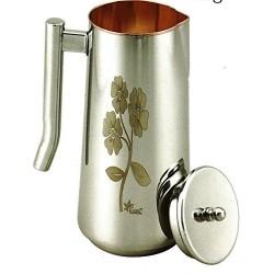VE EXPO Copper Steel Flower Printed Water Jug, 1500ml, Silver