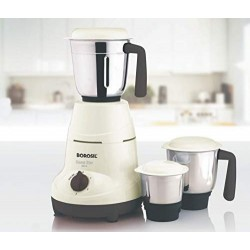 Borosil Home Star 500W Mixer Grinder With 3 Stainless Steel Jars, White
