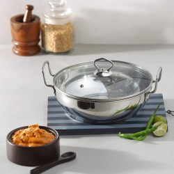 Vinod Stainless Steel Kadai with Glass Lid 24 cm 3 Ltr Induction Friendly