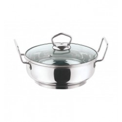 Vinod Stainless Steel Kadai with Glass Lid 20 cm 2 Ltr Induction Friendly