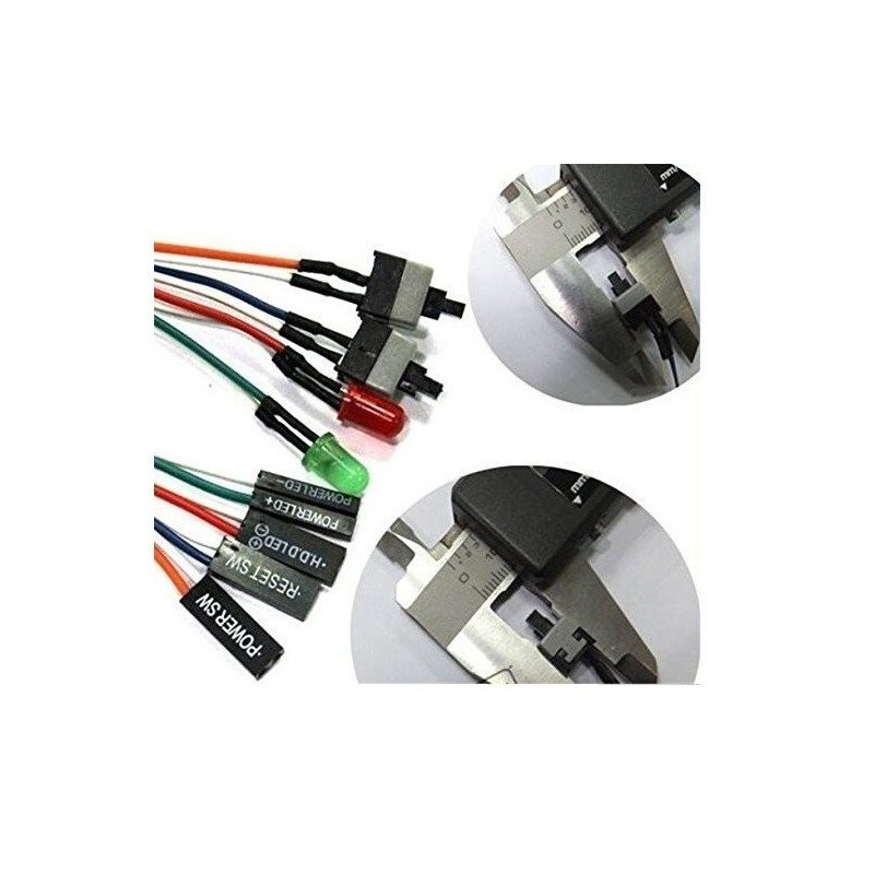 RAJIEKART ATX PC COMPUTER MOTHERBOARD CABLE 2 SWITCH ON/OFF/RESET WITH LED LIGHT
