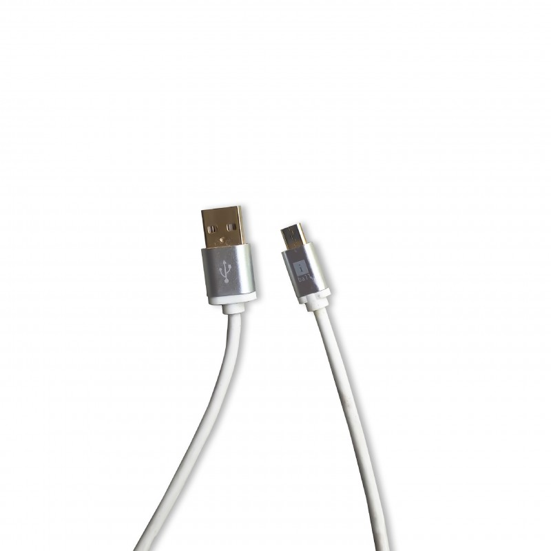 iBall IC-MRT09 Black/White Micro USB Data Cable - 1 Meter with Gold Plated Connectors (2.4 Amp & Fast Charging Support)