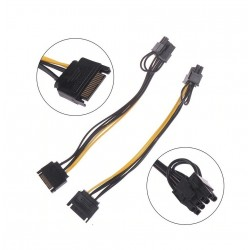 RAJIEKART 15-PIN SATA MALE TO 8-PIN (6+2 PIN) PCI-EXPRESS FEMALE VIDEO CARD POWER ADAPTER CABLE