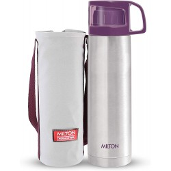 Milton Glassy 750 Thermosteel 24 Hours Hot And Cold Water Bottle With Drinking Cup Lid 750 Ml Purple
