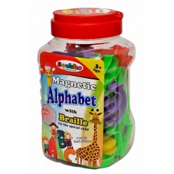 Magnetic Learning Letters (ABC) and Numbers (123) with Braille, Toys for Special Children