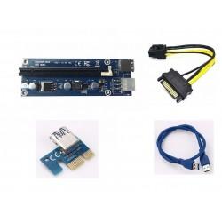 Rajiekart USB 3.0 PCI 60CM PCIe PCI-E 1X to 16X Riser Card Extension Cable +USB 3.0 Cable / 15Pin SATA- 6Pin Cord for BTC Miner