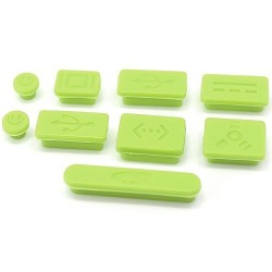 9PCS PROTECTIVE PORTS COVER SILICONE ANTI-DUST PLUG STOPPER FOR APPLE MAC 13''/15'' PRO GREEN