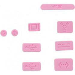 9PCS PROTECTIVE PORTS COVER SILICONE ANTI-DUST PLUG STOPPER FOR APPLE MAC 13''/15'' PRO PINK