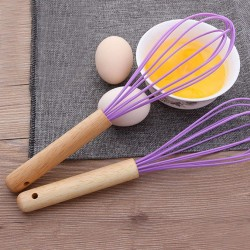 Mixer Egg Beater Wooden Hand Whisk Cream Milk Shake Stiring Cooking Tools