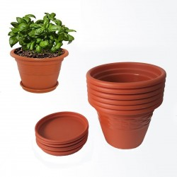 Siti Plastic Planter Pots With Bottom Tray 8 inch 6 Pieces