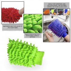 Microfiber Wash Mitt Gloves Dust Cleaning Gloves Vehicle Washing Multipurpose House Car Glass LCD Cleaning pack of 2