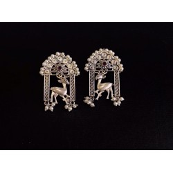 Anaghya Silver Look Alike Earrings with animal motif with beautiful pearl