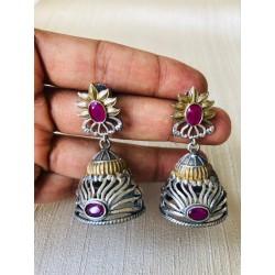 Anaghya Dual Tone Oxidized Earrings For Girls And Women with beautiful jhumki