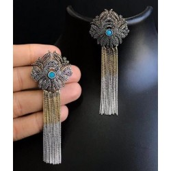 Anaghya Dual Tone Oxidized Earrings For Girls And Women With Beautiful blue Stones in the centre Of the tops