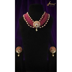 Anaghya Kundan  Set With ruby Beads For Formal Occasions for giris nd women