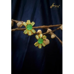 anaghya green druzy stone beautiful earrings in brass