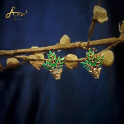 anaghya ad earrings in  flower pot shape for stylish girls nd women