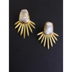anaghya Gold plated Dangle Drop Earring with Mother of Pearl for Women & Girls.